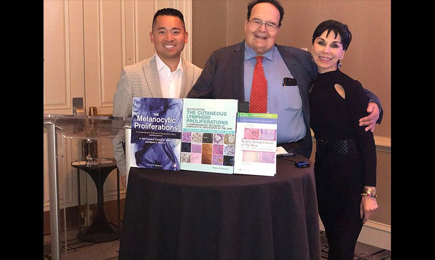 Dr. Cynthia Magro's fellow, Dr. Allen Miraflor, Dr. Martin Mihm and Dr. Magro with their most recent books in press.